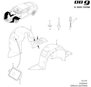 Aston Martin DB9 Front Wheel Arch Liner Parts DIagram