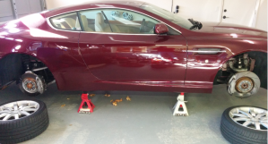 Aston Martin DB9 on Jack Stands