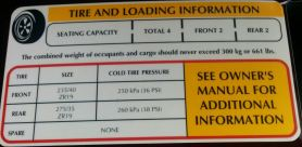 Aston Martin DB9 Tire Information Label