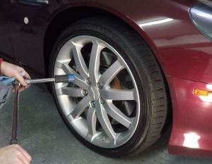 Torquing a Road Wheel on an Aston Martin DB9