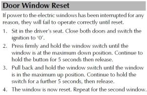 Aston Martin D9 Owners Manual Door Windows Reset Procedure