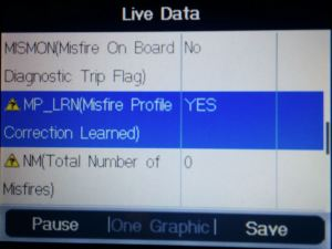 OBDII Reader Showing Misfire Correction Proifile Learned on Aston Martin DB9