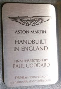 Aston Martin DB9 Final Inspection Plaque