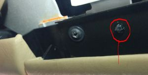 One of Two Glove Box Hinge Alignment Pins on an Aston Martin DB9