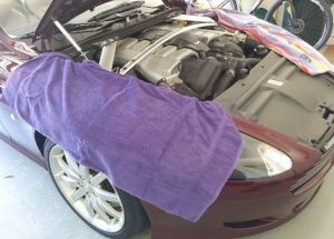 Aston Martin DB9 Fenders Covered with Towels