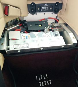 Battery Compartment Opened on an Aston Martin DB9