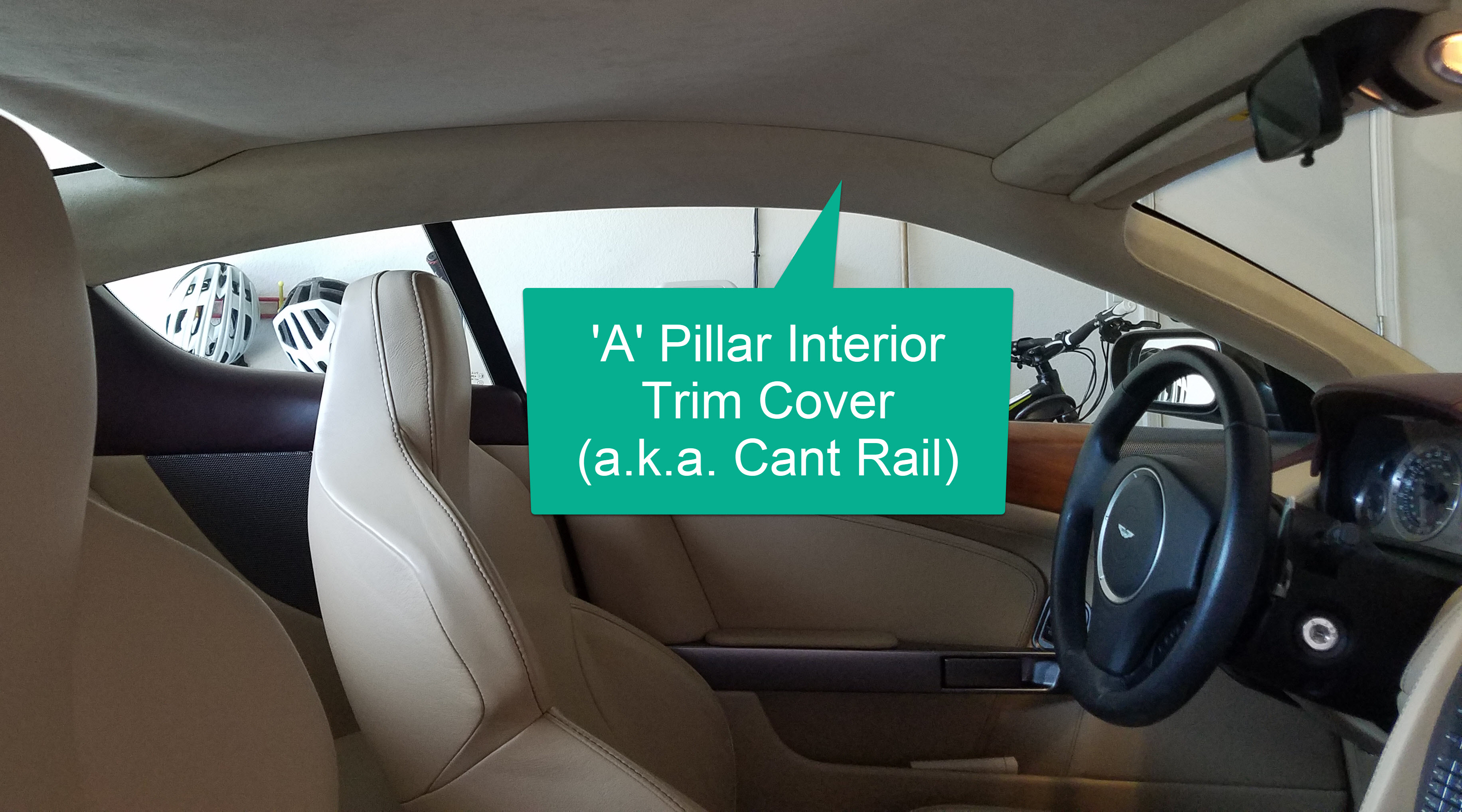 removing the a pillar interior trim cover (cant rail) from an aston